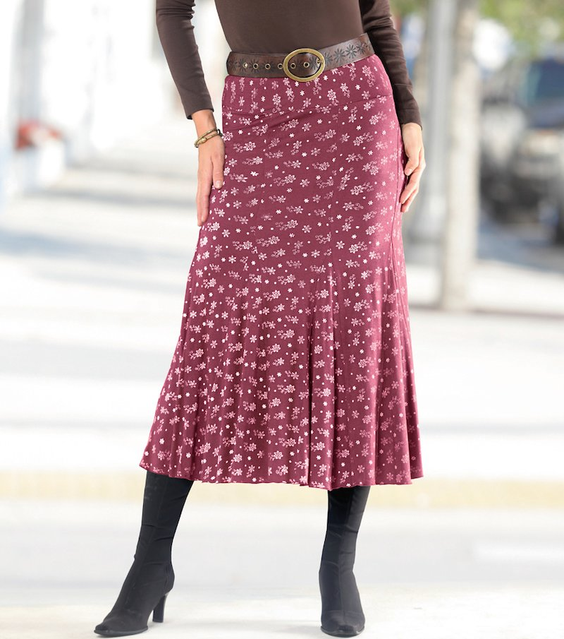 Falda larga mujer con vuelo y cinturilla elástica - Lila