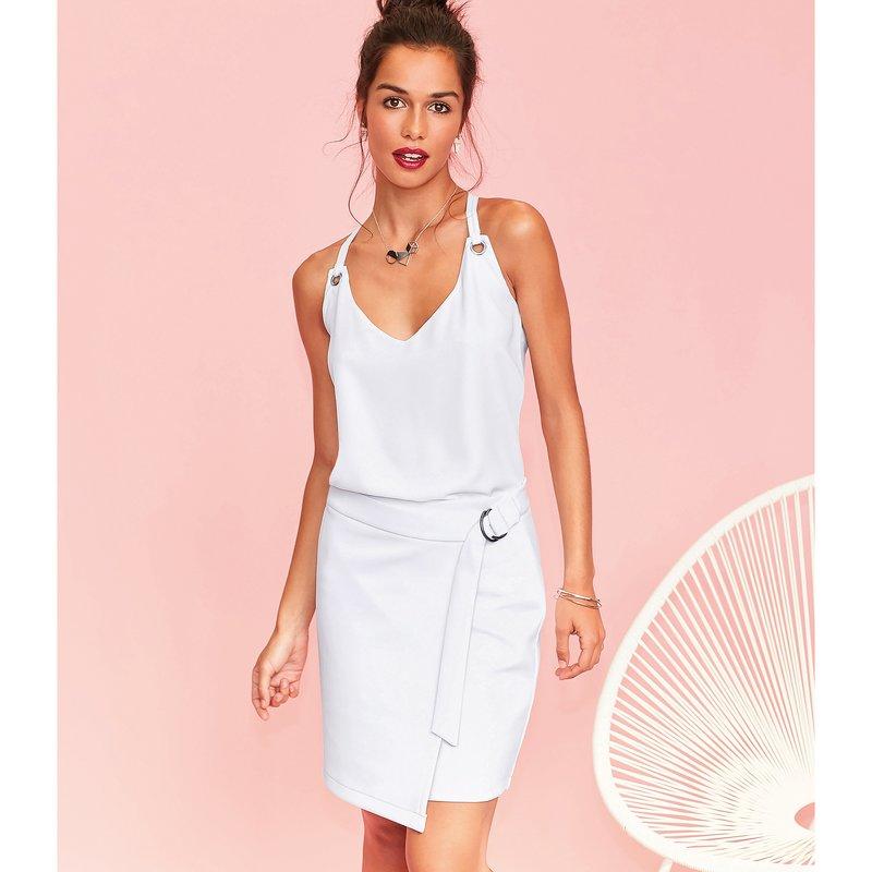 Falda tipo pareo elástica mujer con cinturón - Blanco