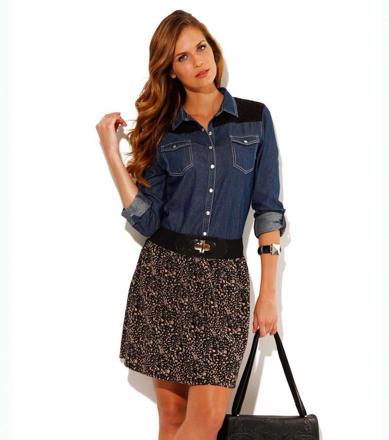 Falda corta mujer cintura elástica bicolor