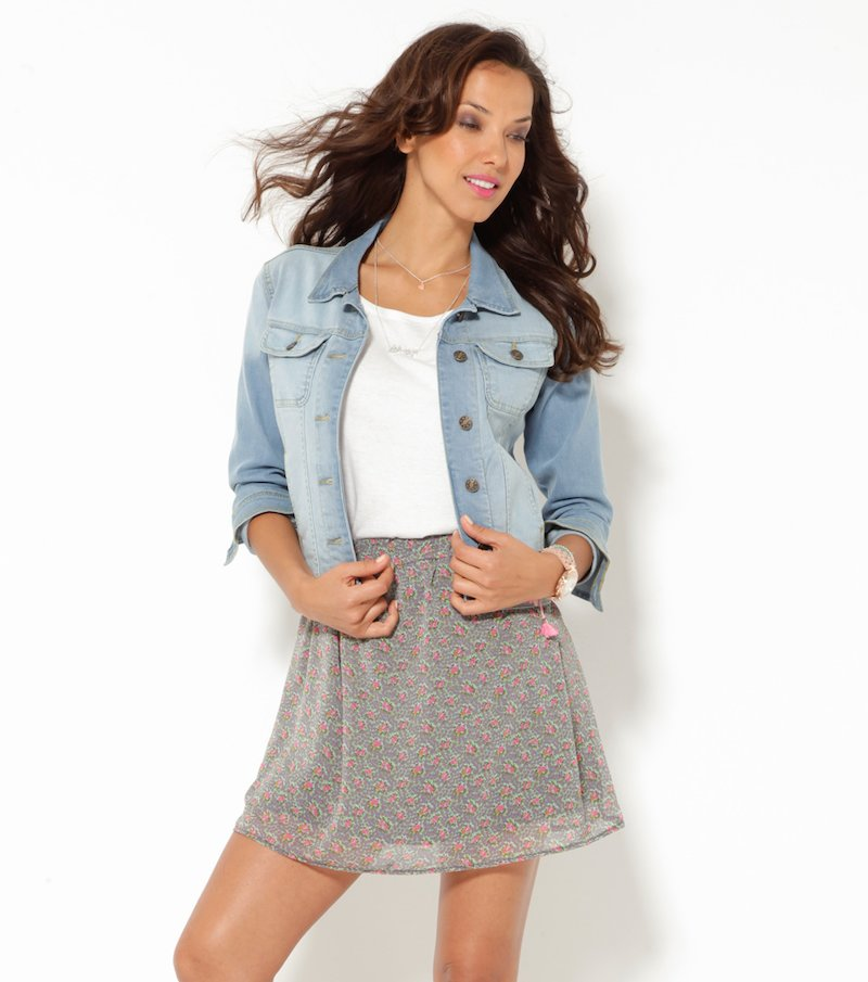 Falda corta mujer cintura elástica estampada