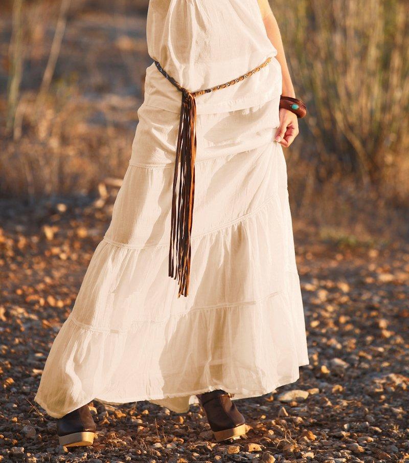 Falda ibicenca larga de mujer 100% algodón - Beige