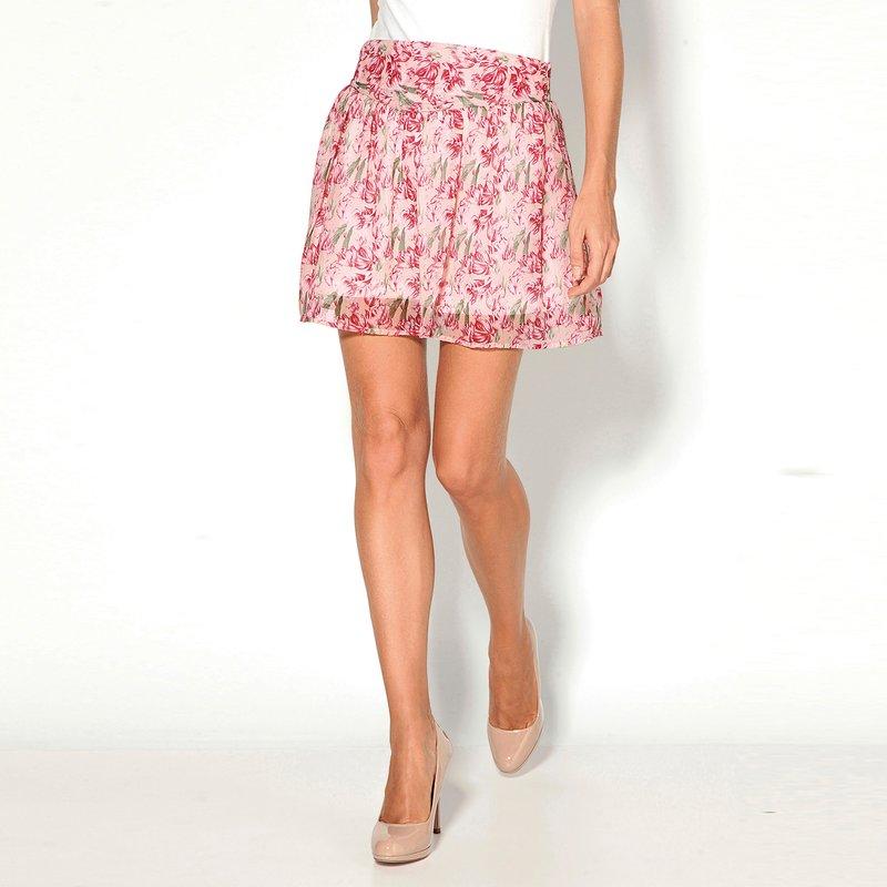 Falda corta flores con cremallera forrada - Crudo