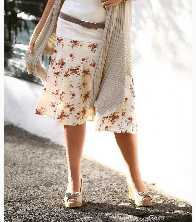 Falda mujer algodón y lino - Crudo