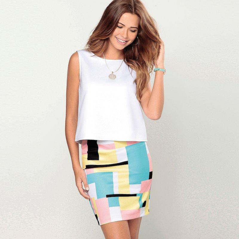 Falda neopreno estampado geométrico multicolor