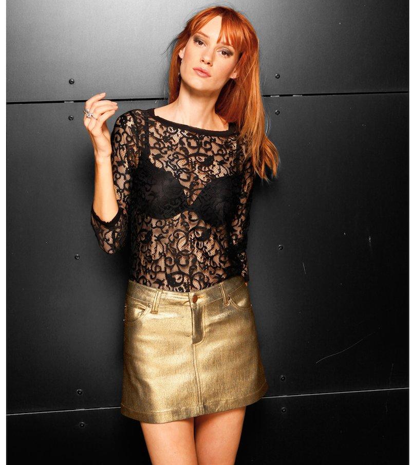 Falda corta de fiesta mujer tejido metalizado