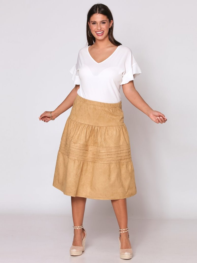 Falda larga de cintura elástica