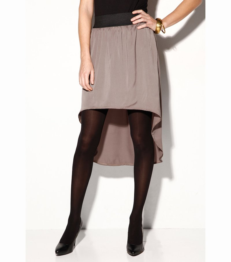 Falda larga mujer corte asimétrico bobtail