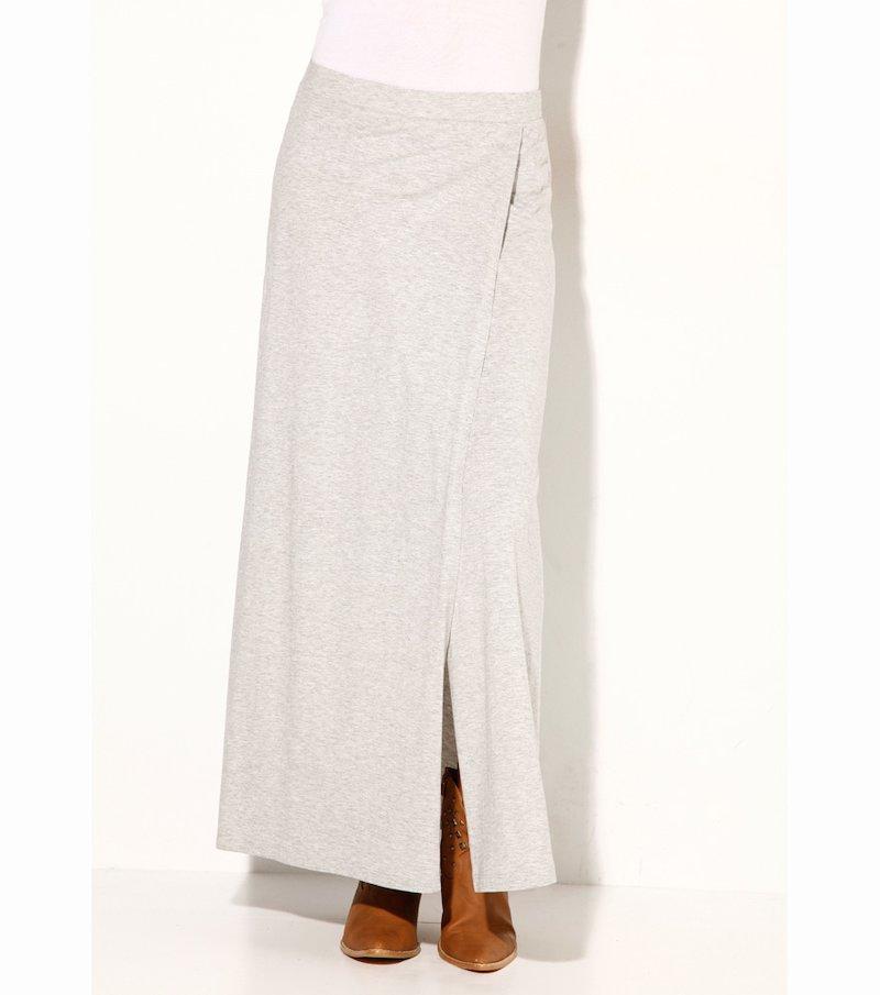 Falda larga mujer punto elástico con abertura - Gris