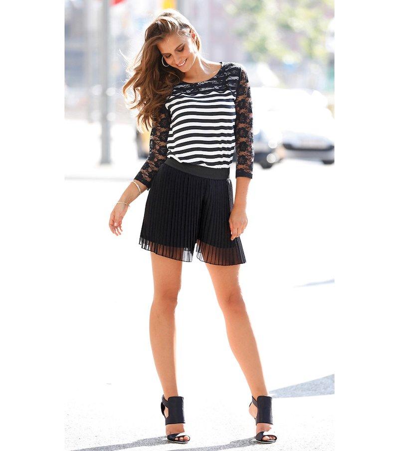 Falda short mujer plisada con cintura elástica - Beige