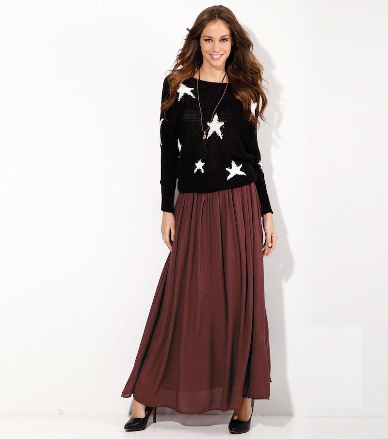 Falda larga mujer burdeos