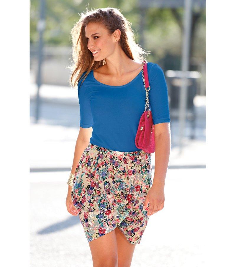 Falda mujer corte pareo cintura elástica - Beige