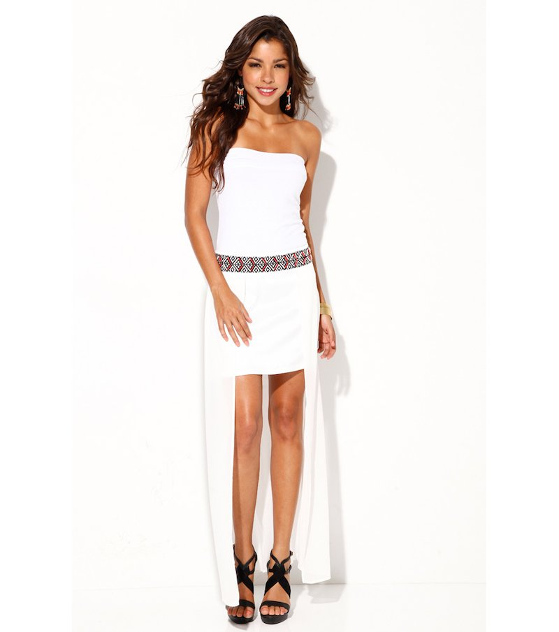 Falda larga mujer corte asimétrico con cenefa