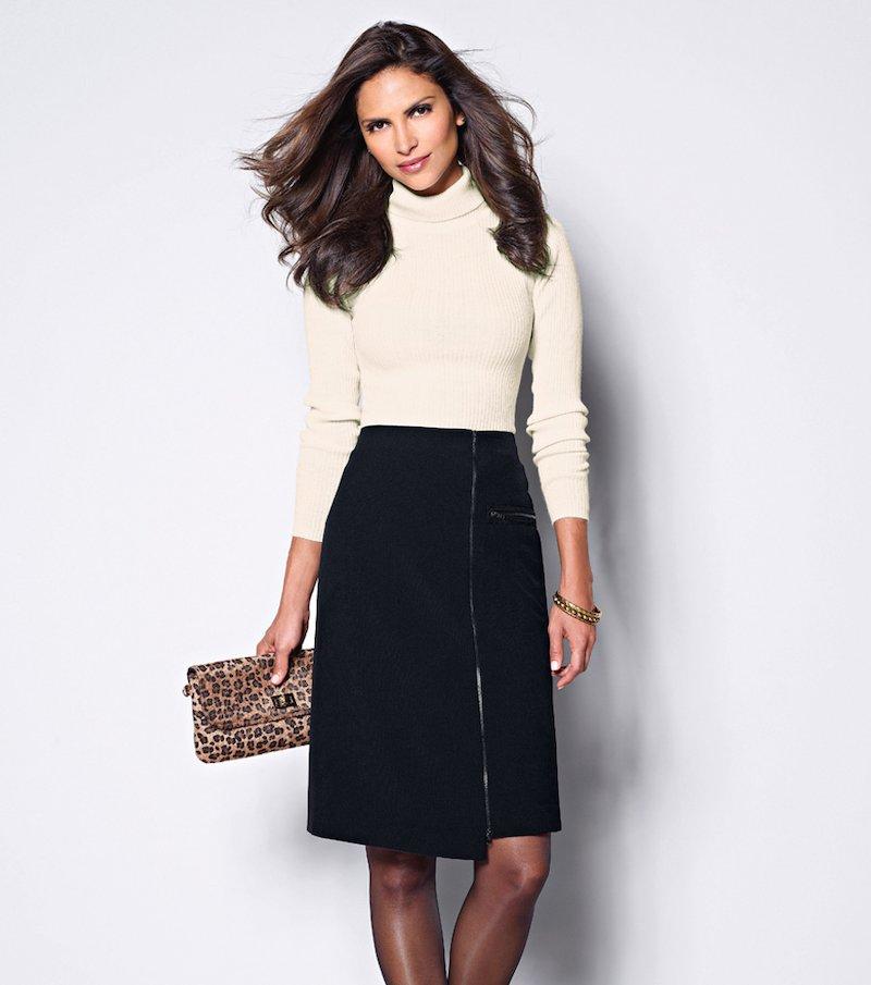 Falda de vestir mujer asimétrica - Negro