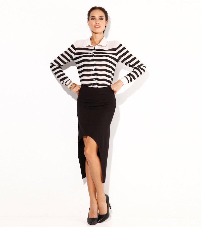 Falda larga mujer haim tail punto elástico negra