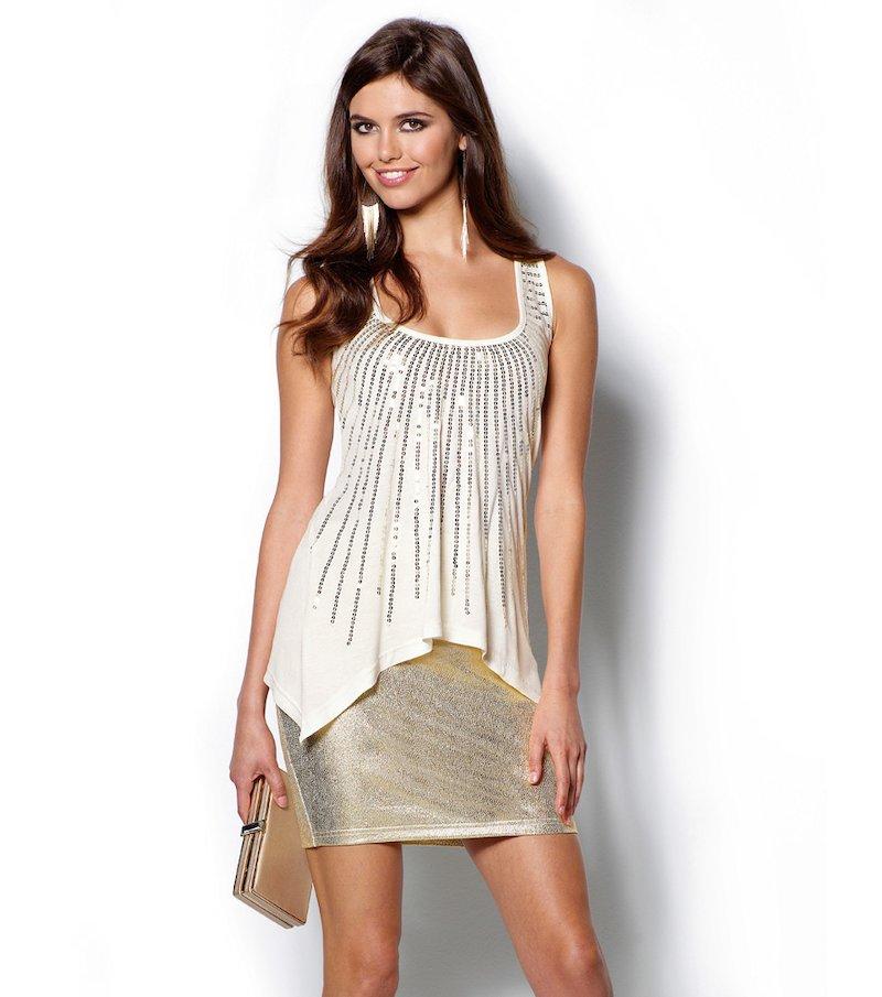 Falda fiesta mujer dorada metalizada