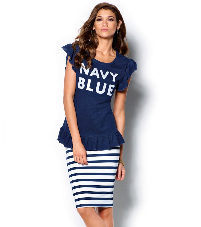 Falda pincel mujer rayas marineras tendencia navy