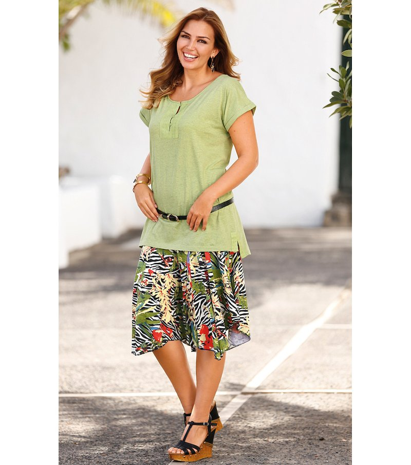 Falda mujer punto asimétrica estampada - Verde