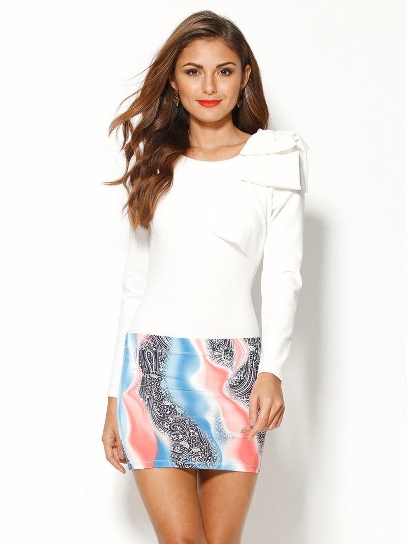 Falda corta mujer elástica estampada