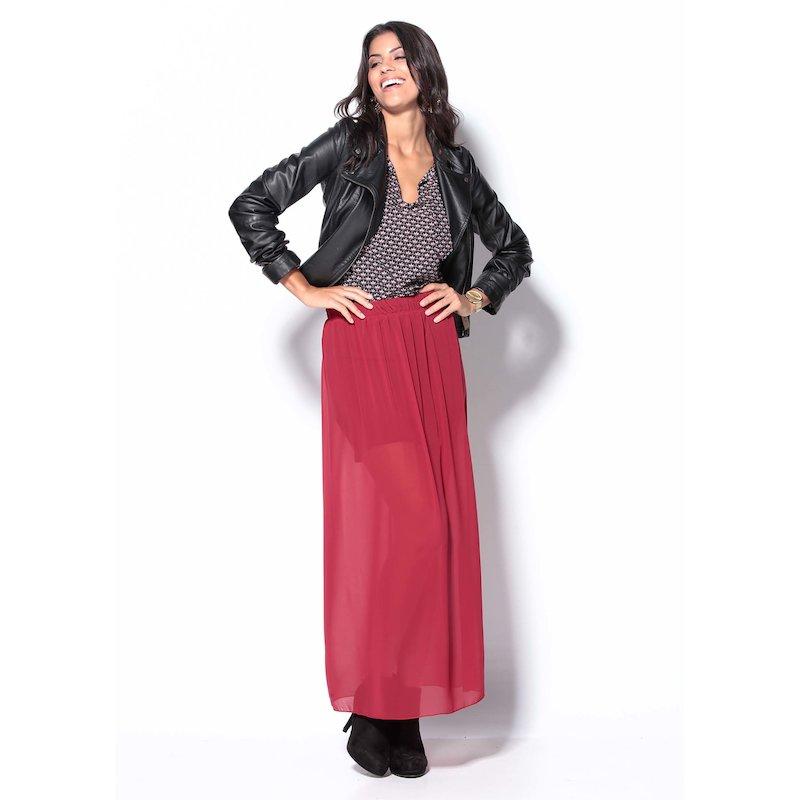 Falda larga mujer roja