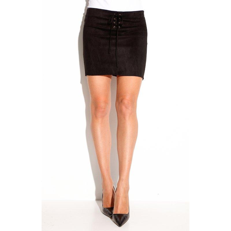 Falda corta de antelina con cremallera y cordones - Negro