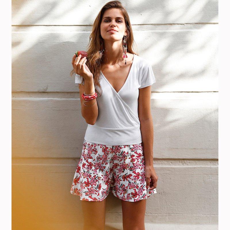 Falda pantalón mujer print flores
