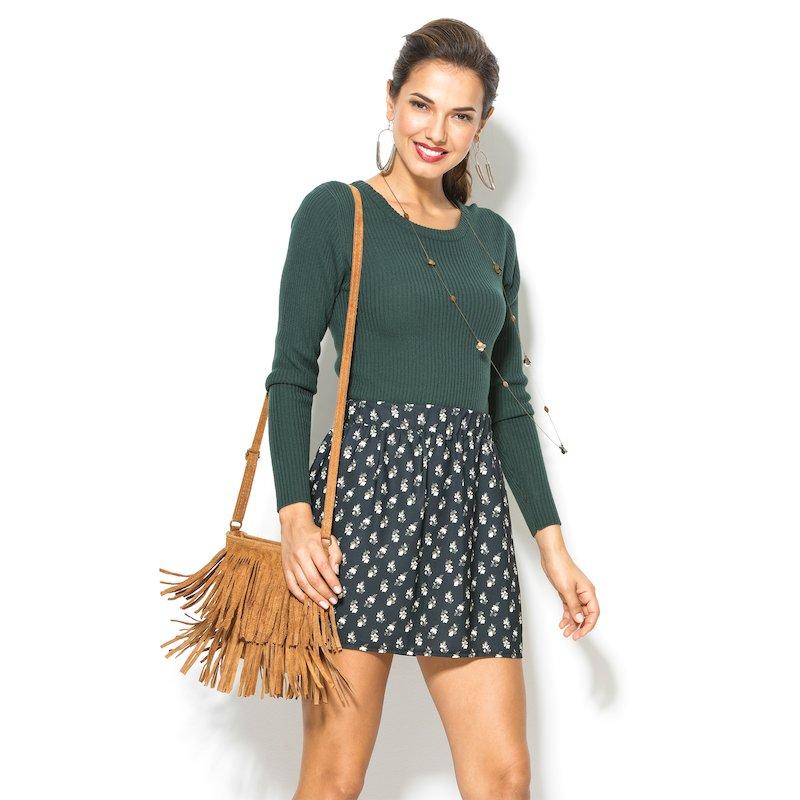Falda con estampado floral corta de mujer