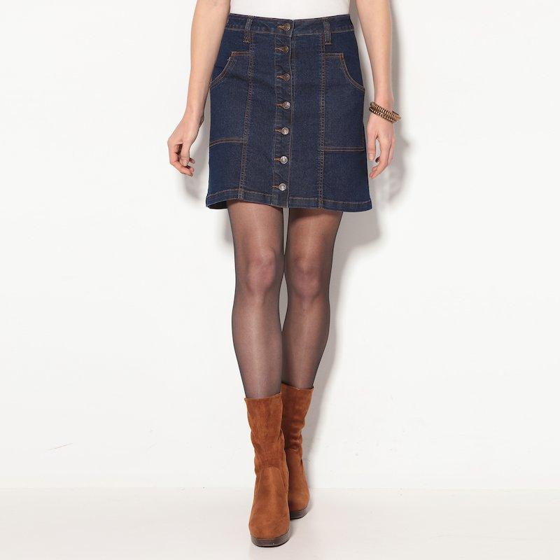 Falda corta vaquera mujer en tejido denim elástico con boton