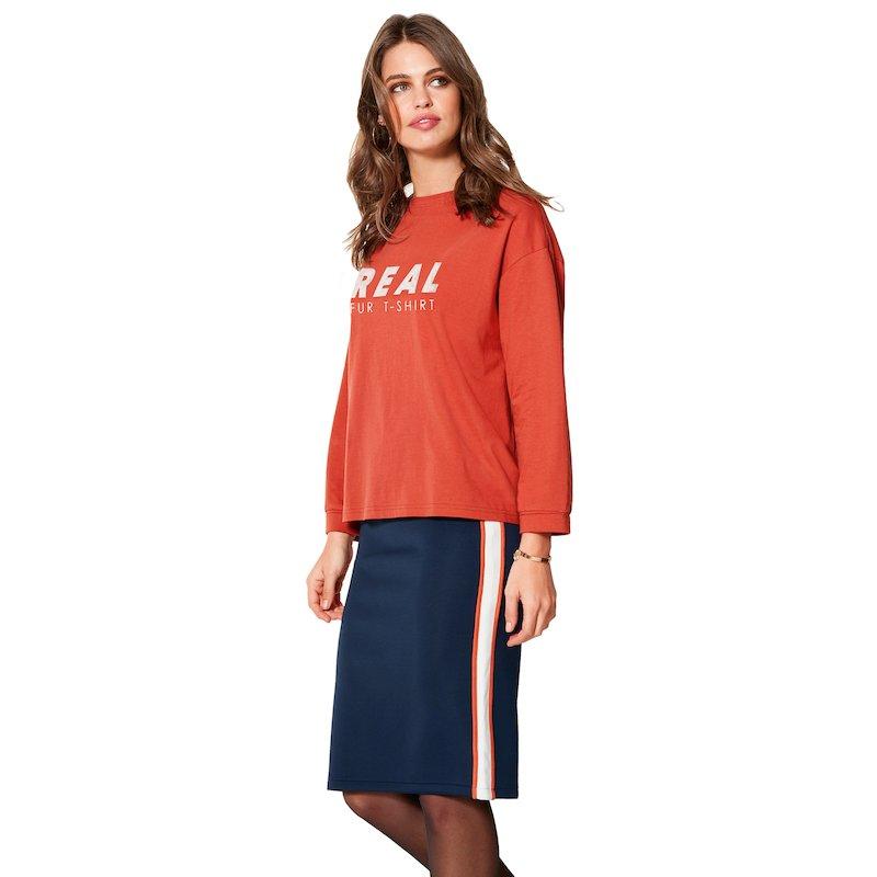 Falda larga pincel adaptable punto neopreno elástico - Azul
