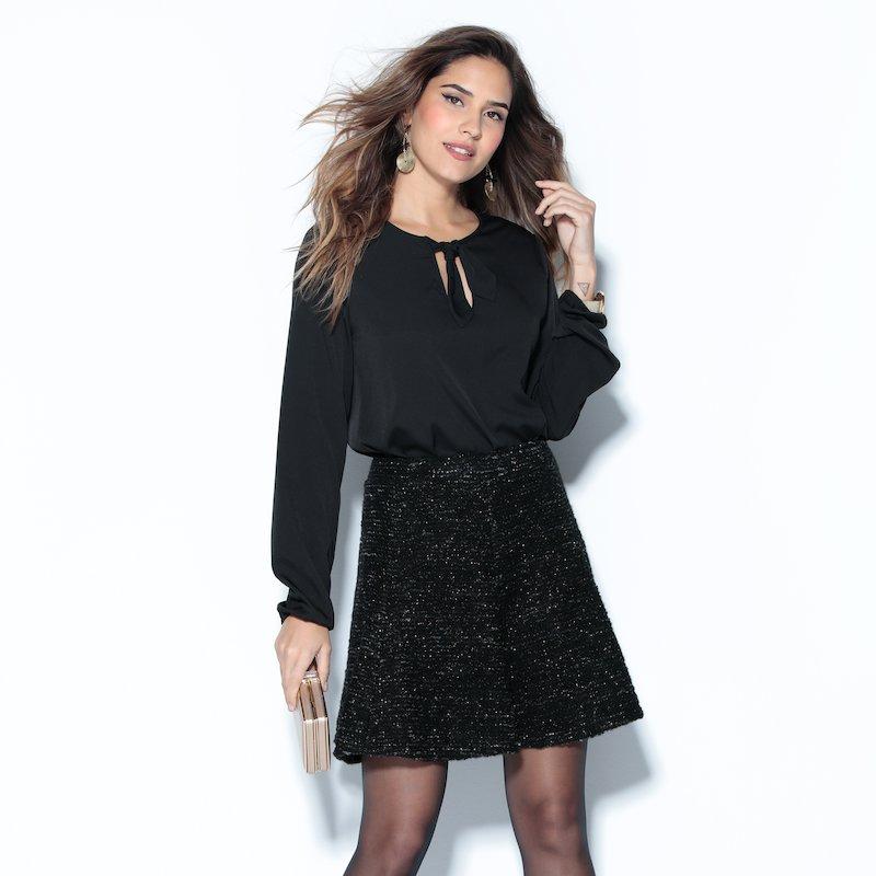 Falda corta de vestir capeada tricot dorado - Negro