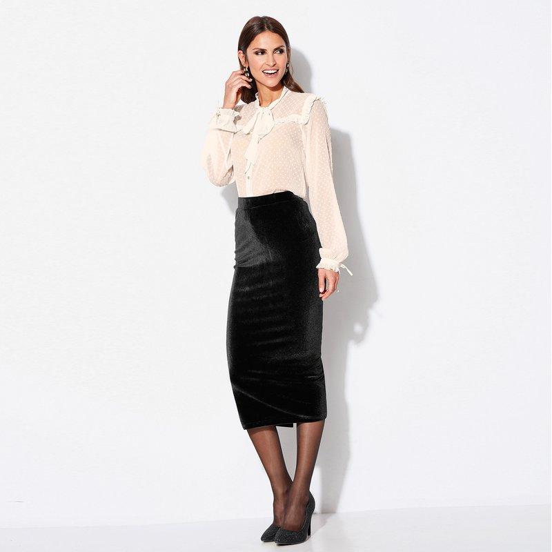 Falda de vestir midi tipo tubo en punto de terciopelo - Negro