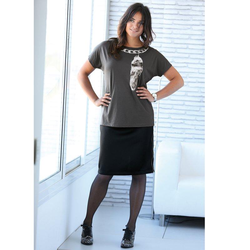 Falda punto neopreno mujer con cremalleras laterales - Negro