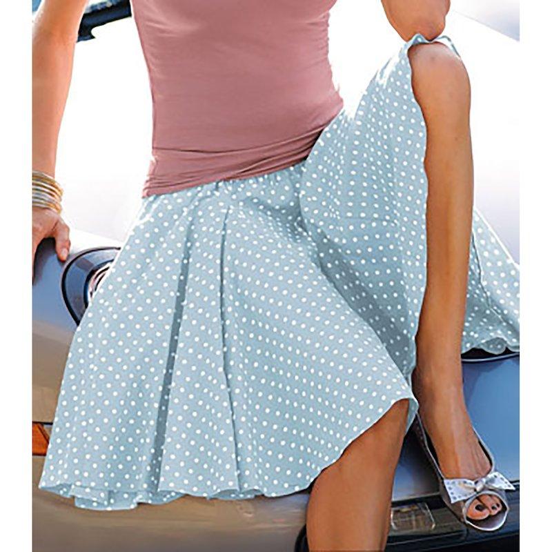 Falda de vuelo ancha cintura - Azul