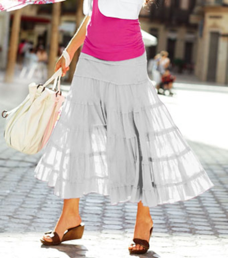Falda larga con paneles fruncidos de algodón - Blanco