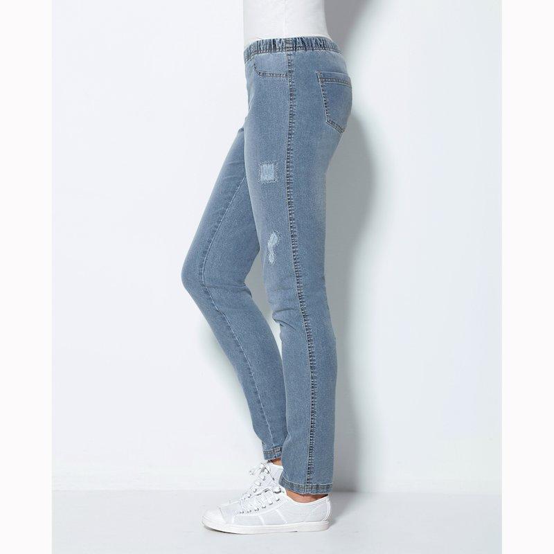 Pantalón mujer tregging con rotos y strass