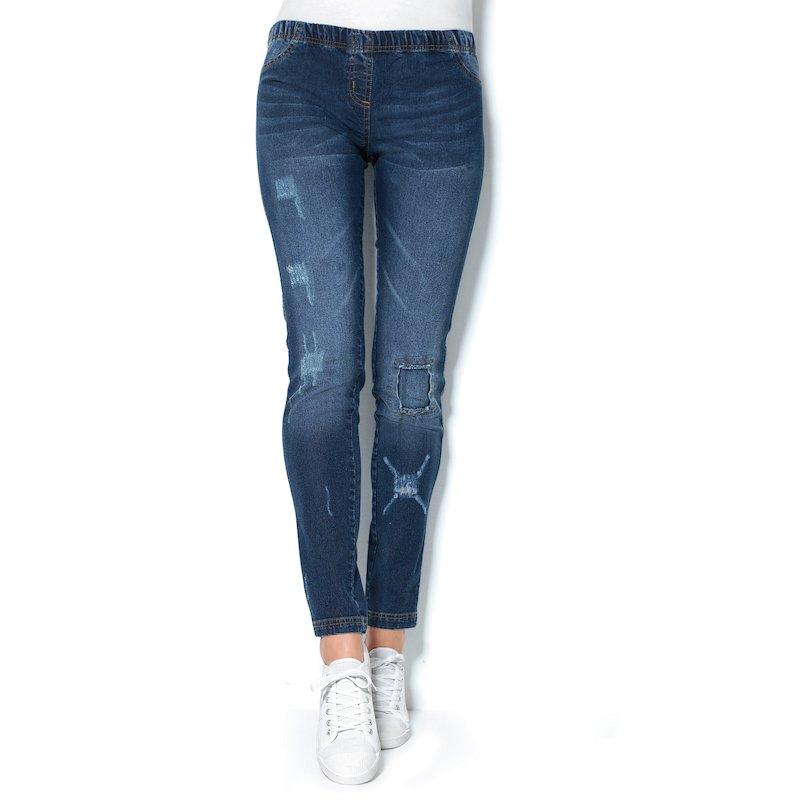 Pantalón tregging elástico con parches mujer