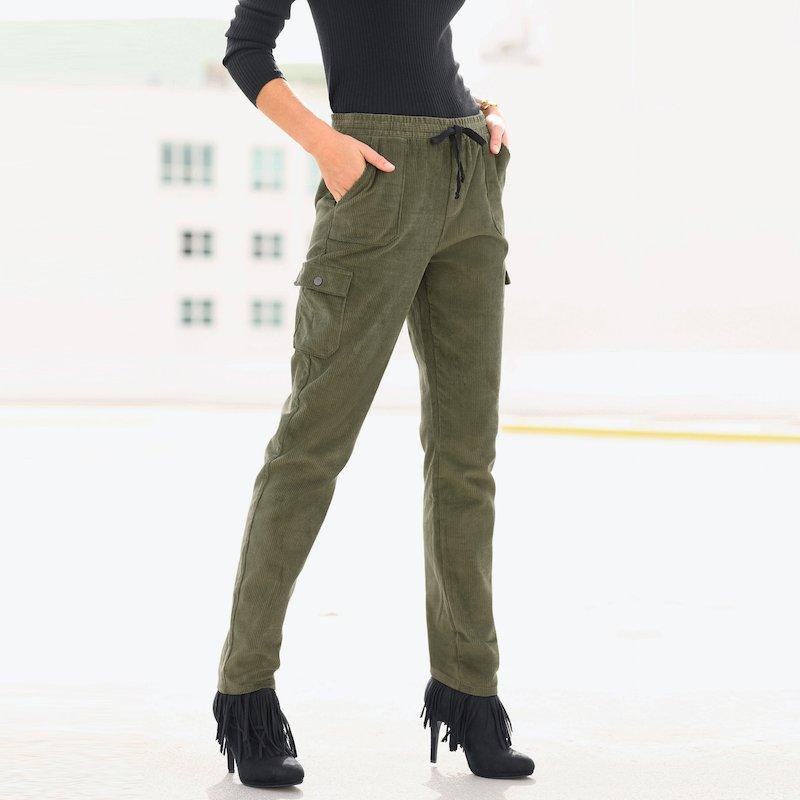 Pantalón tregging de pana mujer cinturilla elástica