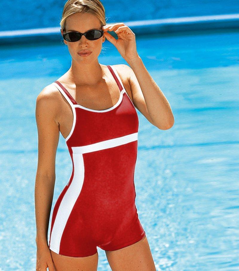 Bañador mujer tipo short natación estilo deportivo - Rojo