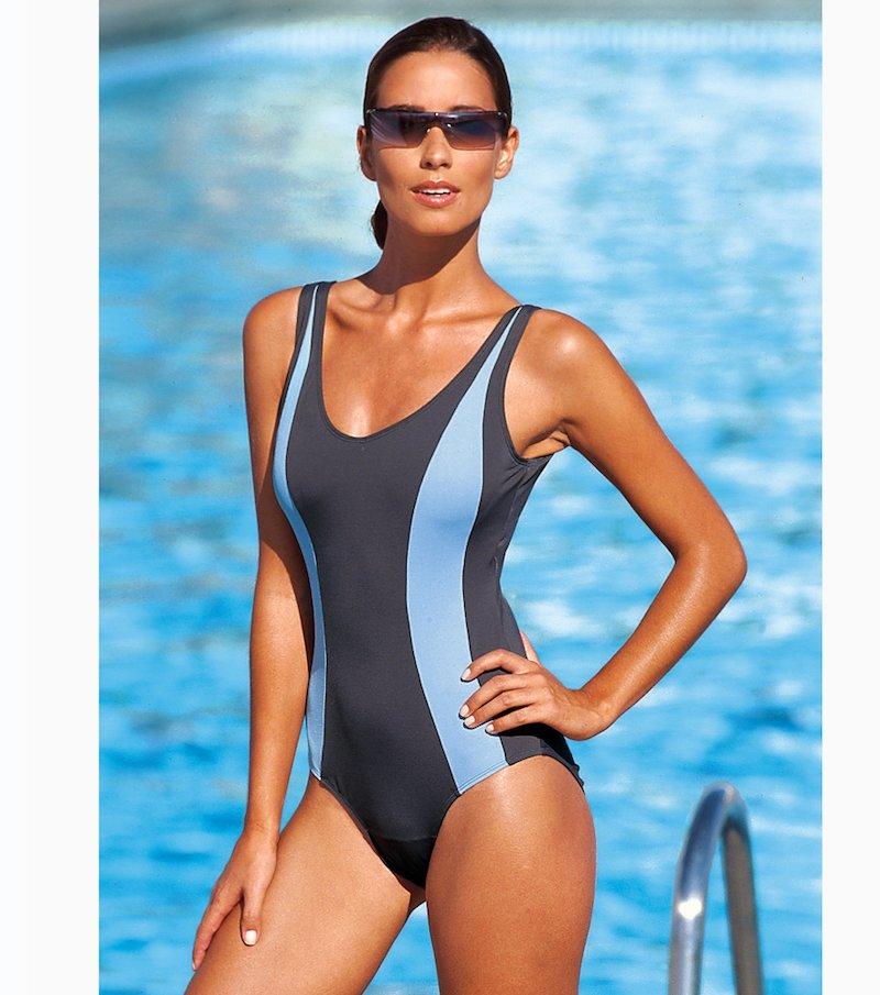 Bañador mujer con aros estilo deportivo - Gris