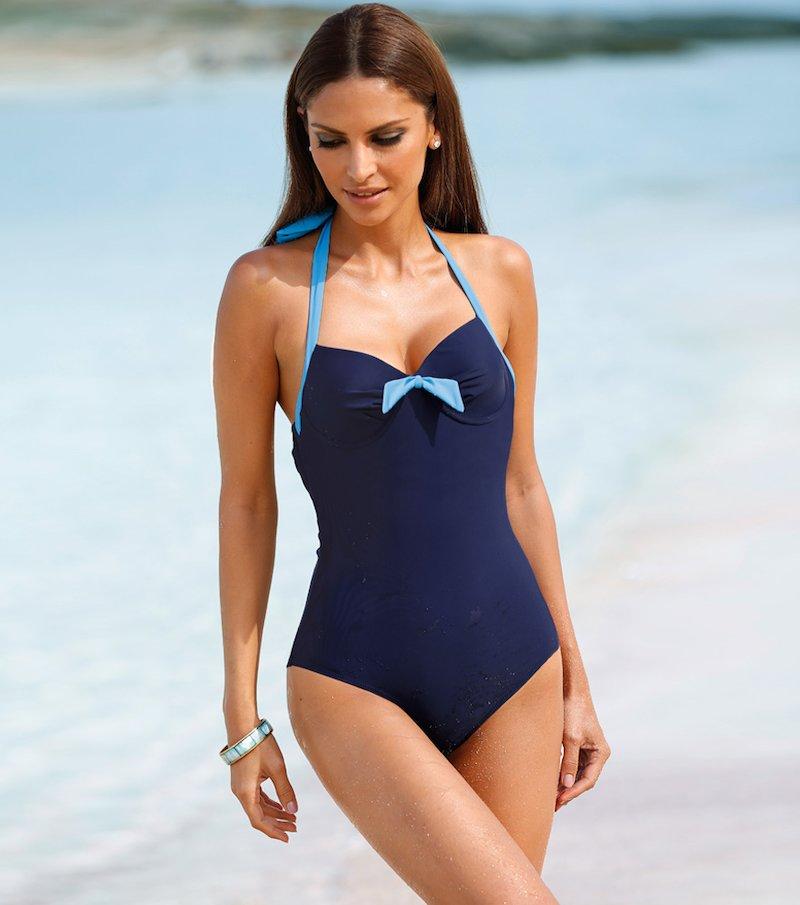 Bañador mujer halter con aros y relleno bicolor - Azul