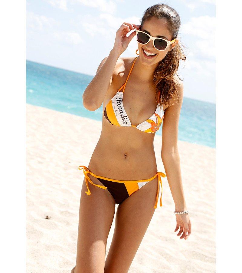 Bikini 2 piezas mujer triángulo con flor tricolor