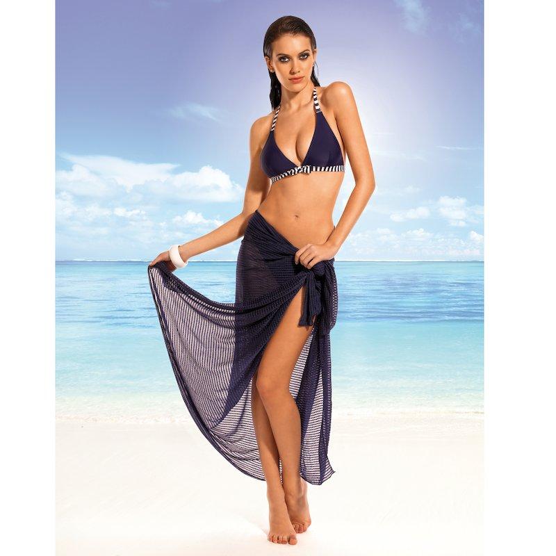 Bikini y pareo con rayas de inspiración marinera - Azul