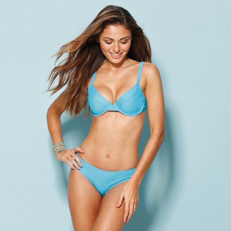 Bikini liso mujer copa B forrada con aros - Azul