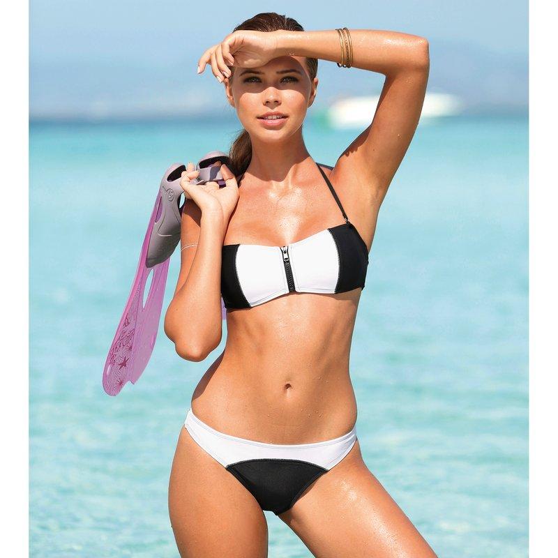 Bikini bandeau mujer con relleno y cremallera