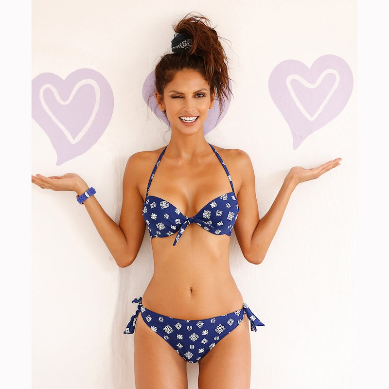 Bikini mujer estampado con lazos copa B