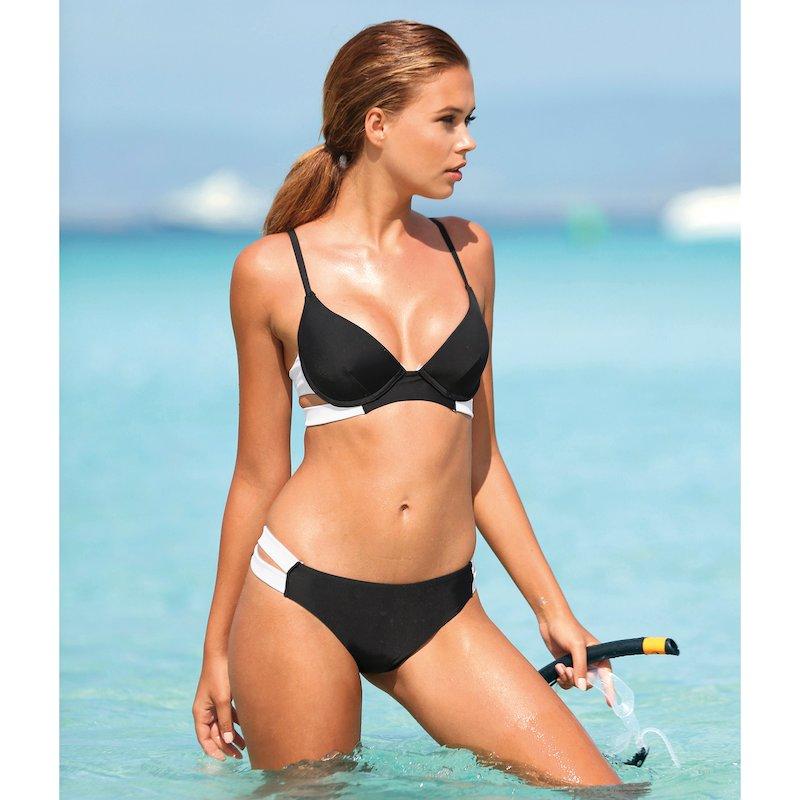 Bikini bicolor mujer copa B bandeau con relleno