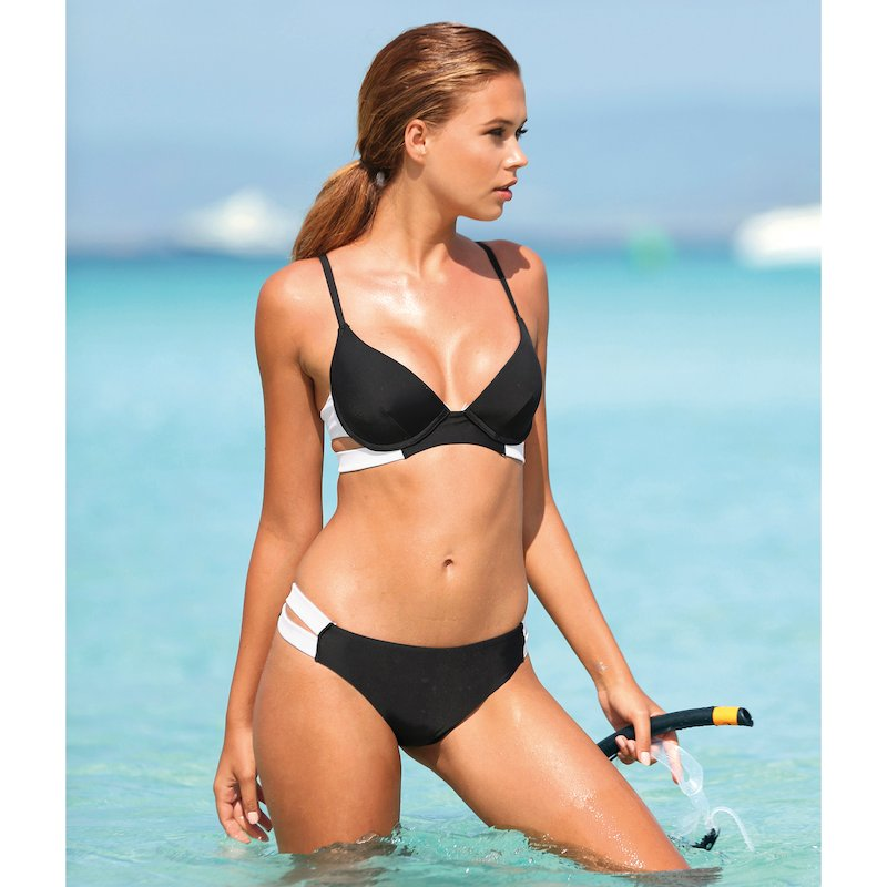 Bikini bicolor mujer copa B bandeau con relleno - Negro