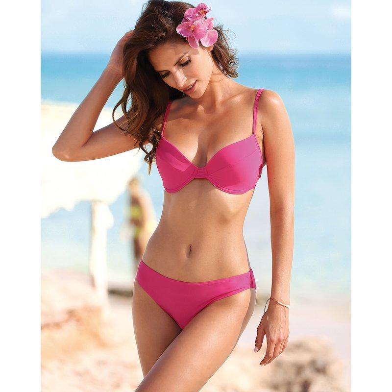 Bikini liso 2 piezas mujer copa B con aros - Rosa
