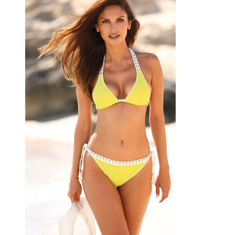 Bikini mujer con relleno y braga lazos crochet