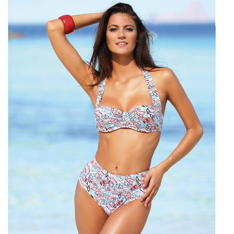 Bikini estampado con aros copa B tirante halter