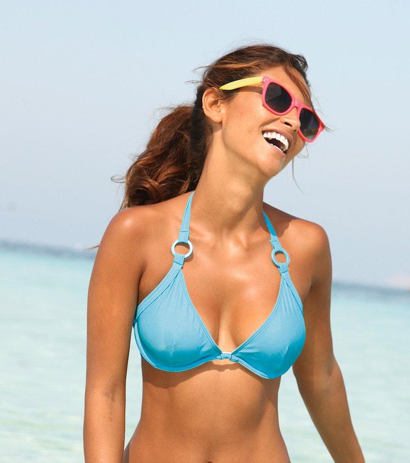 Sujetador de bikini mujer con aros y anillas